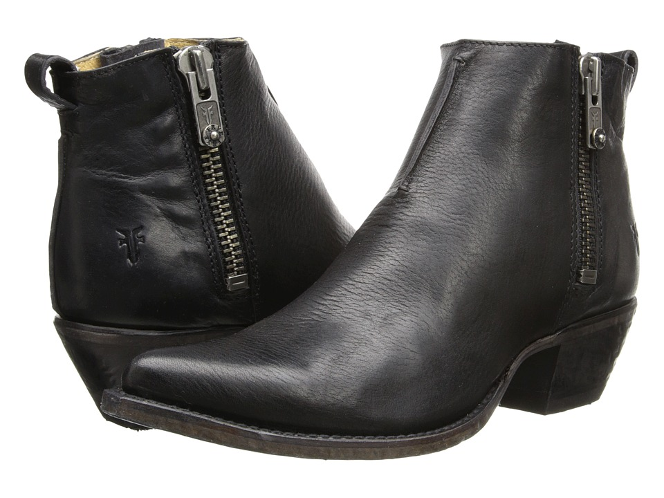 Frye - Sacha Moto Shortie (Black Smooth Vintage Leather) Womens Pull-on Boots