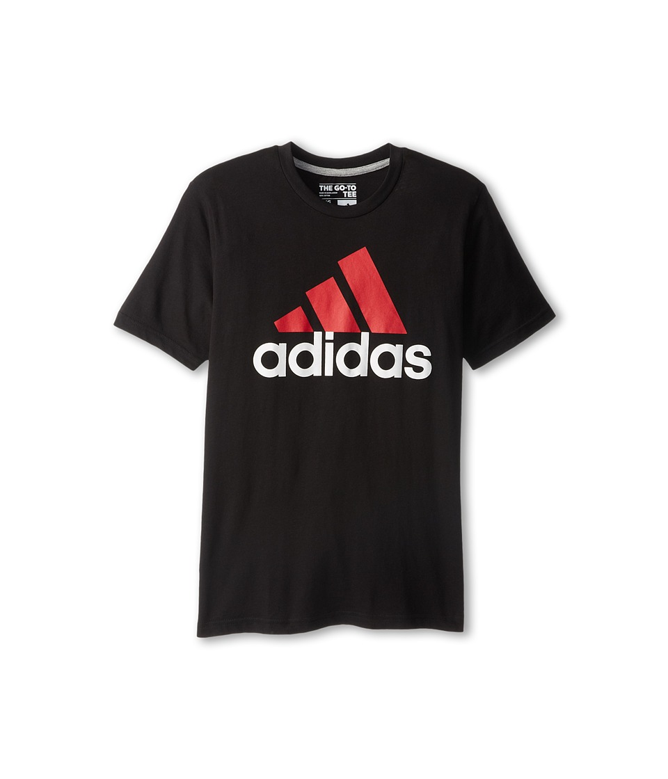 adidas Kids 30s S/S Tee Adi Logo Big Kids Black/Scarlet Boys Short Sleeve Pullover