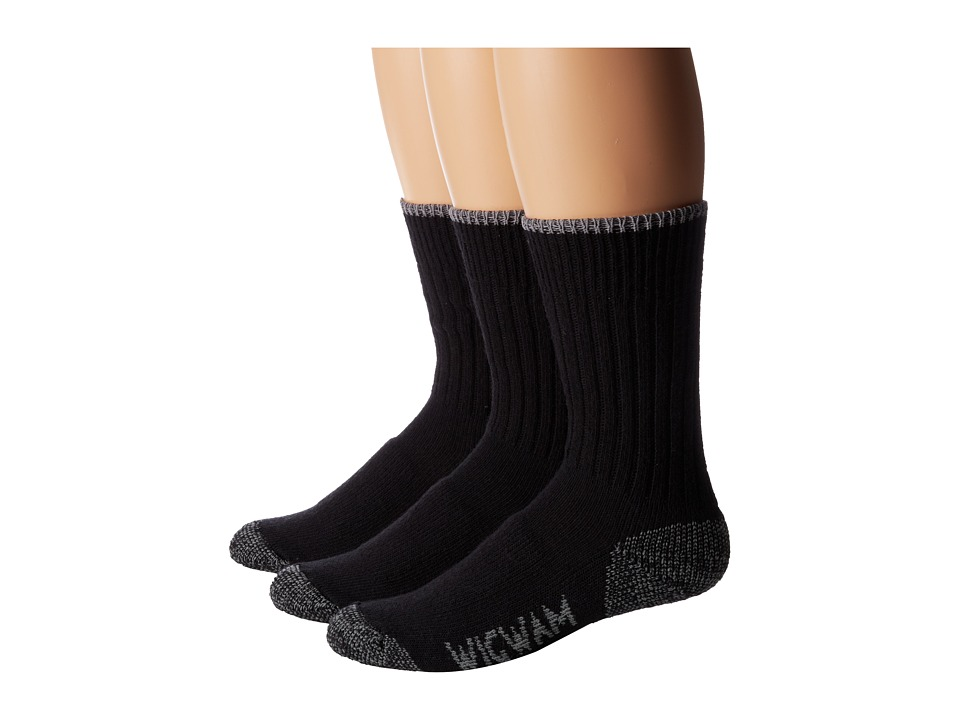 Wigwam All Weather 3 Pack Black Crew Cut Socks Shoes
