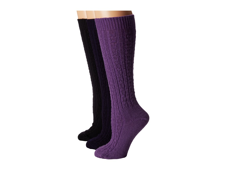 Wigwam Cable Knee High 3 Pack Plum Sew/Black/Navy Womens Crew Cut Socks Shoes