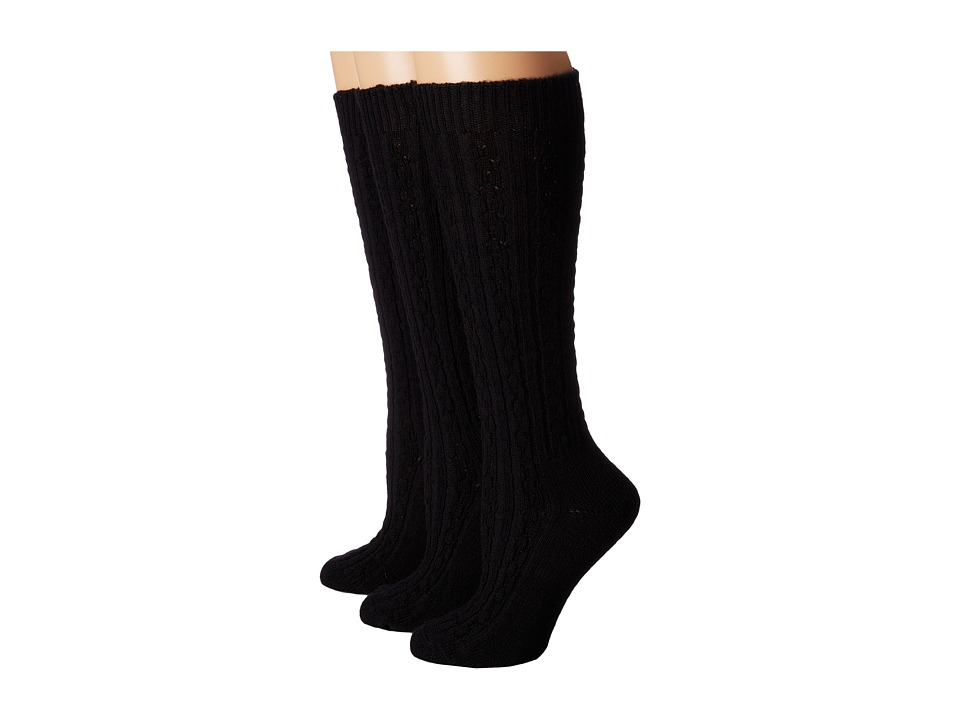 Wigwam Cable Knee High 3 Pack Black Womens Crew Cut Socks Shoes
