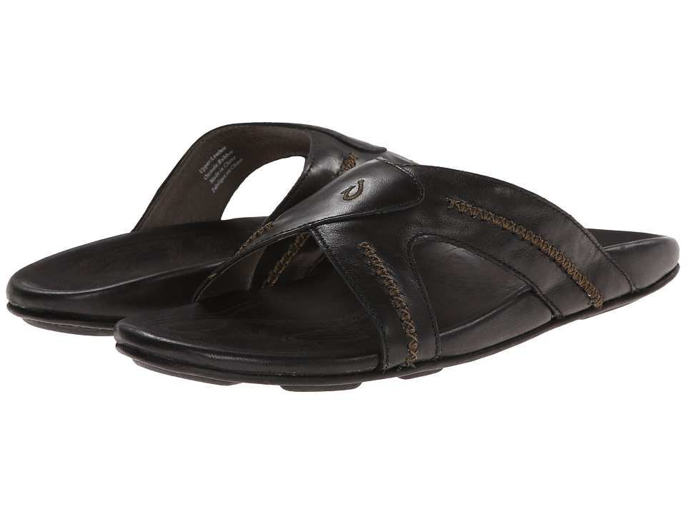 OluKai - Mea Ola Slide (Black/Black) Mens Sandals