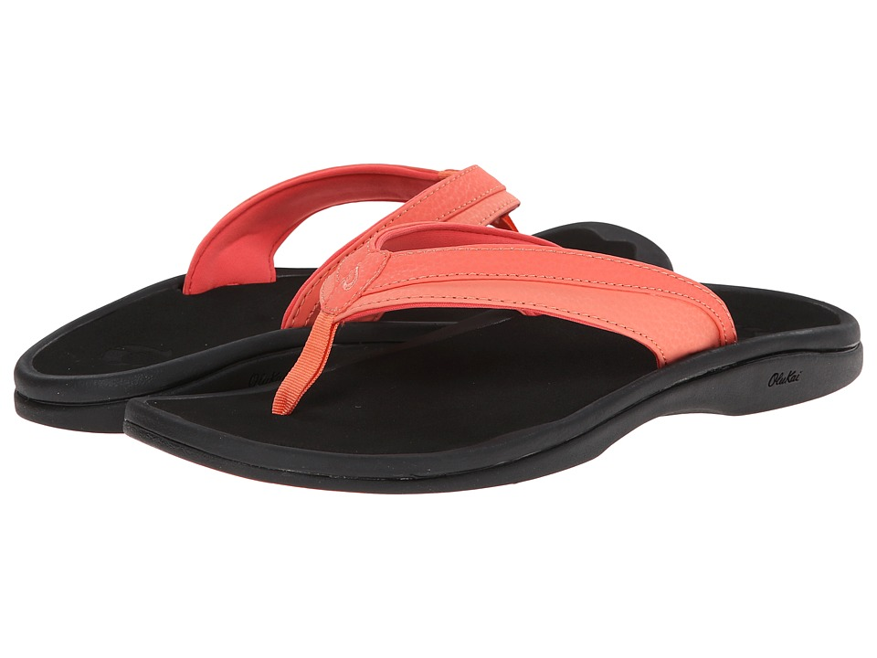 OluKai Ohana W (Coral/Black) Sandals