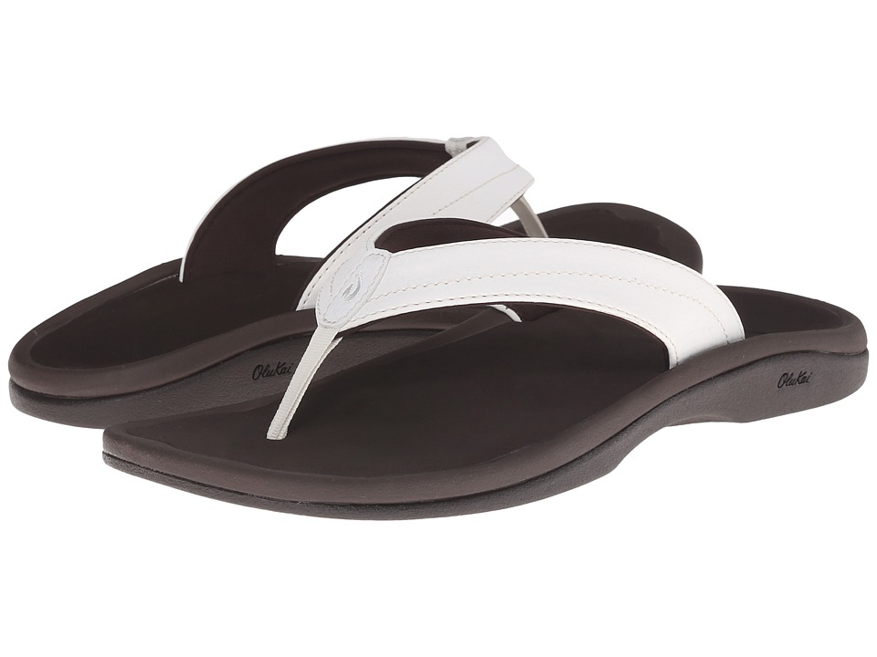 OluKai Ohana W (White/Dark Java) Sandals