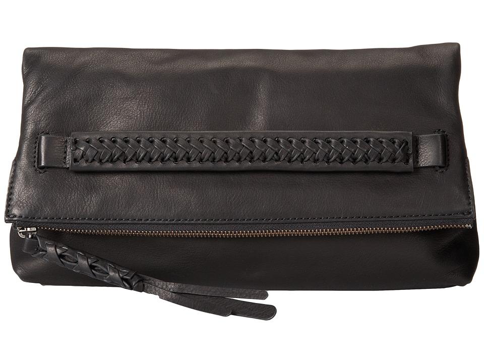 Frye - Jenny Foldover Clutch (Black Soft Vinage Leather) Clutch Handbags