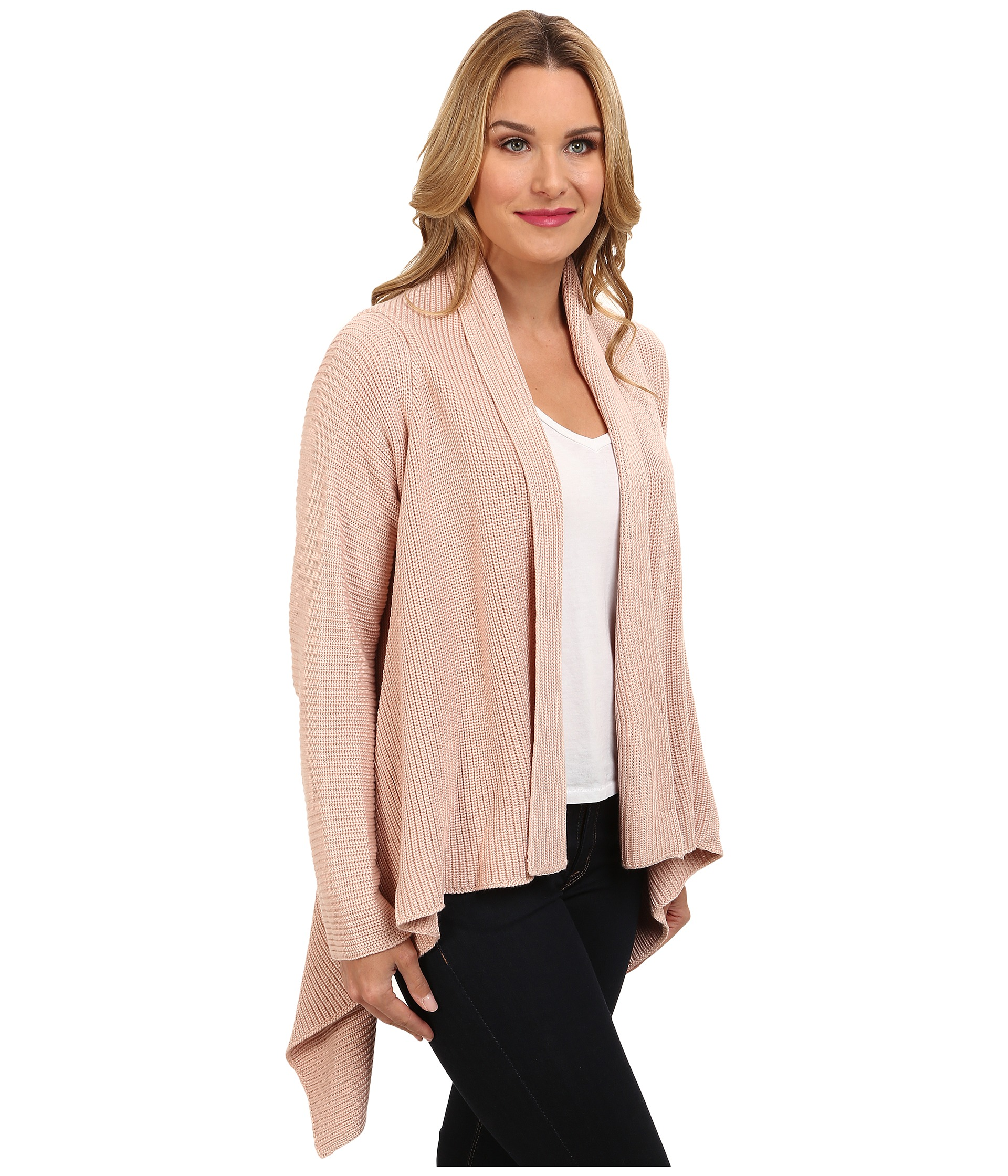 calvin klein ribbed sweater jacket blush shipped free at. Black Bedroom Furniture Sets. Home Design Ideas