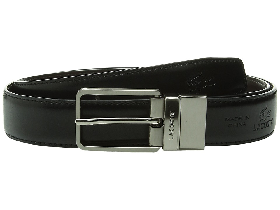 Lacoste - Premium Reversible Leather Nickel Embossed Croc Belt (Rock/Seaweed) Men