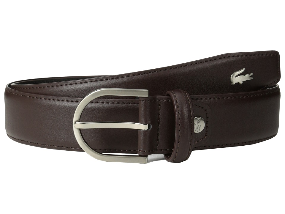 Lacoste Premium Leather Metal Croc Belt (Cafe 1) Men