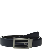 Lacoste - Premium Leather Metal Croc Cutout Plate Belt
