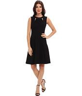 Calvin Klein - Lux A-Line w/ Faux Leather Neckline Dress CD4X19Q3