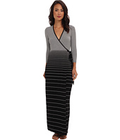 Calvin Klein - Rayon Striped Maxi Wrap Dress