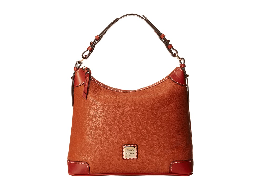Dooney & Bourke - Pebble Leather Hobo (Caramel w/ Tan Tri...