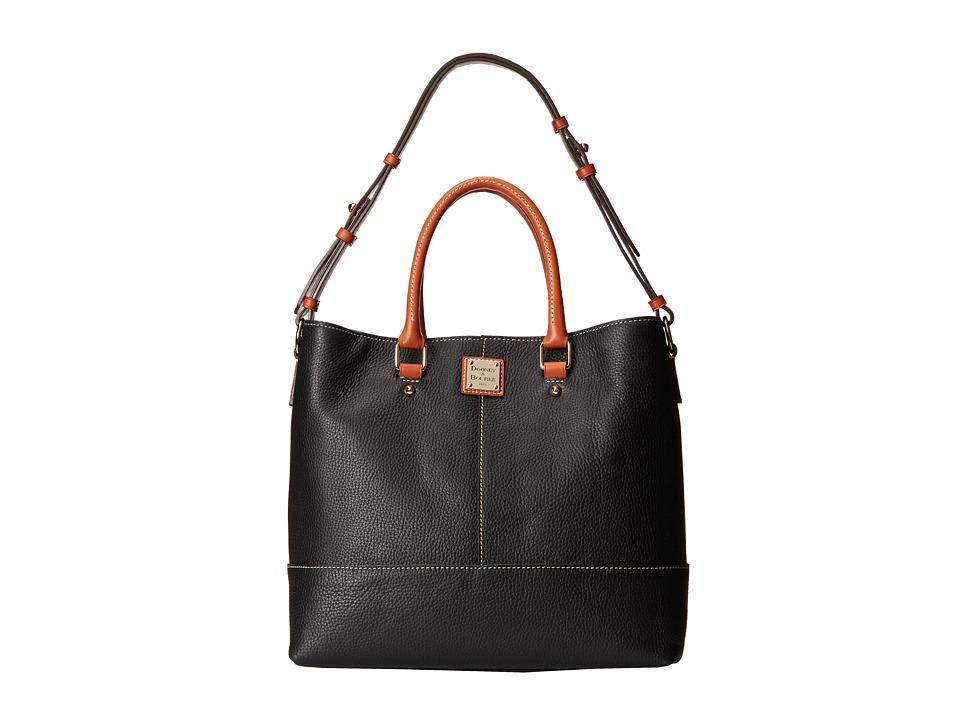 Dooney amp Bourke Pebble Leather Chelsea Shopper Black w/ Tan Trim Tote Handbags