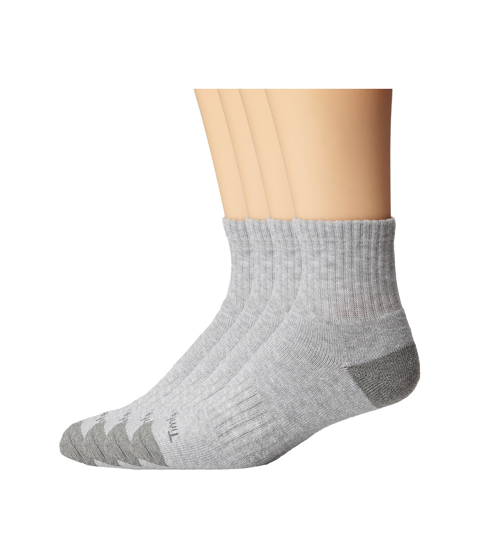 Timberland - TM30406 Quarter 3-Pair Pack (Grey) Men's Quarter Length Socks Shoes