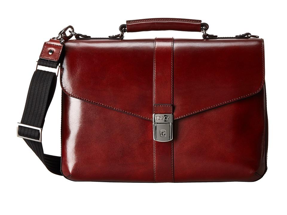 Bosca Flapover Brief (Dark Brown) Briefcase Bags