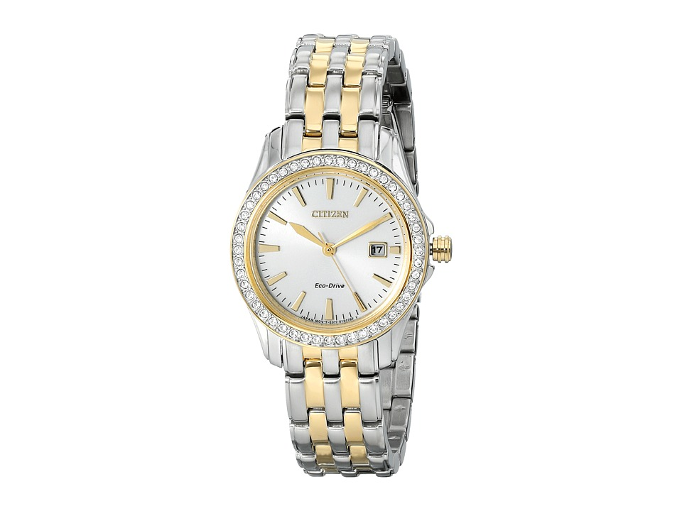 Citizen Watches EW1908 59A Eco Drive Silhouette Crystal Two Tone Stainless Steel Analog Watches
