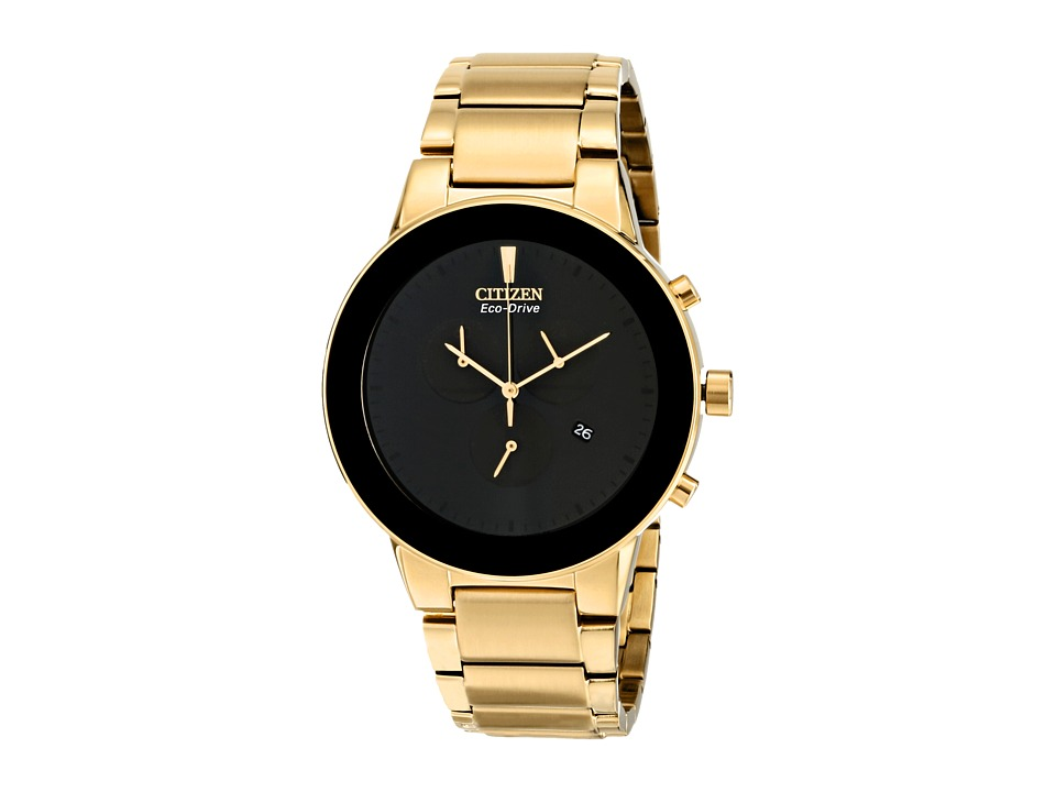 Citizen Watches AT2242 55E Eco Drive Axiom Gold Tone Stainless Steel Dress Watches