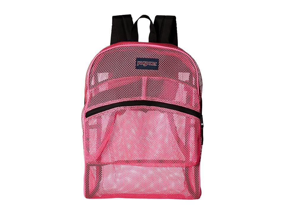 JanSport Mesh Pack Flourscent Pink Backpack Bags