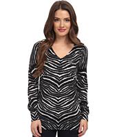 MICHAEL Michael Kors - Petite Zebra Print V-Neck Sweater