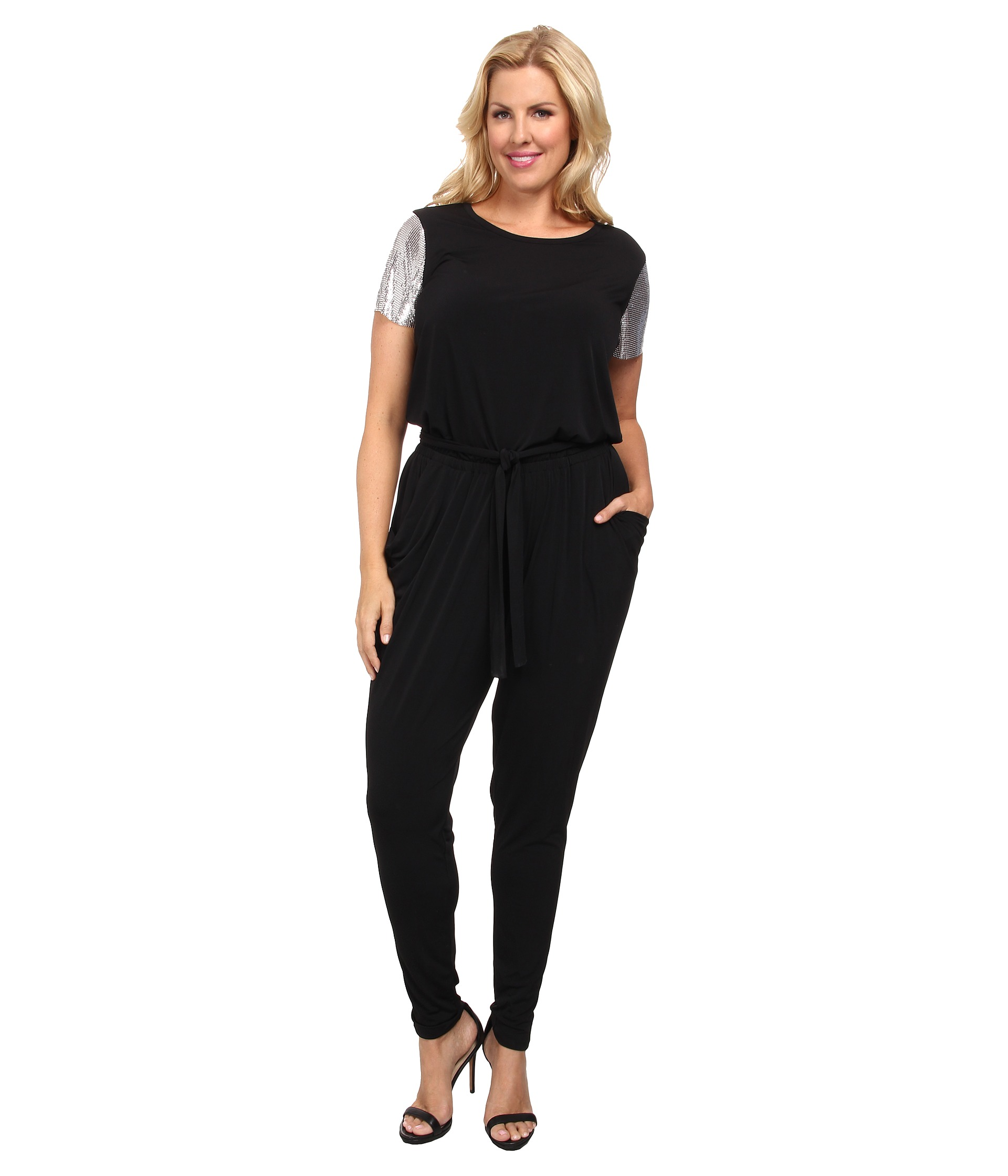 michael michael kors plus size short sleeve chain mesh sleeve jumpsuit at. Black Bedroom Furniture Sets. Home Design Ideas