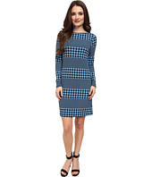MICHAEL Michael Kors - Petite Long Sleeve Boatneck Aquarias Stripe Dress