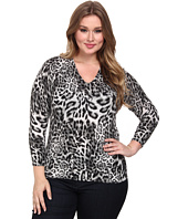 MICHAEL Michael Kors - Plus Size Freemont Print V-Neck Sweater