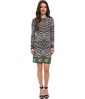 MICHAEL Michael Kors - Petite Long Sleeve Zebra Boatneck Border Dress