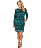 MICHAEL Michael Kors - Plus Size Long Sleeve Zebra Boatneck Border Dress