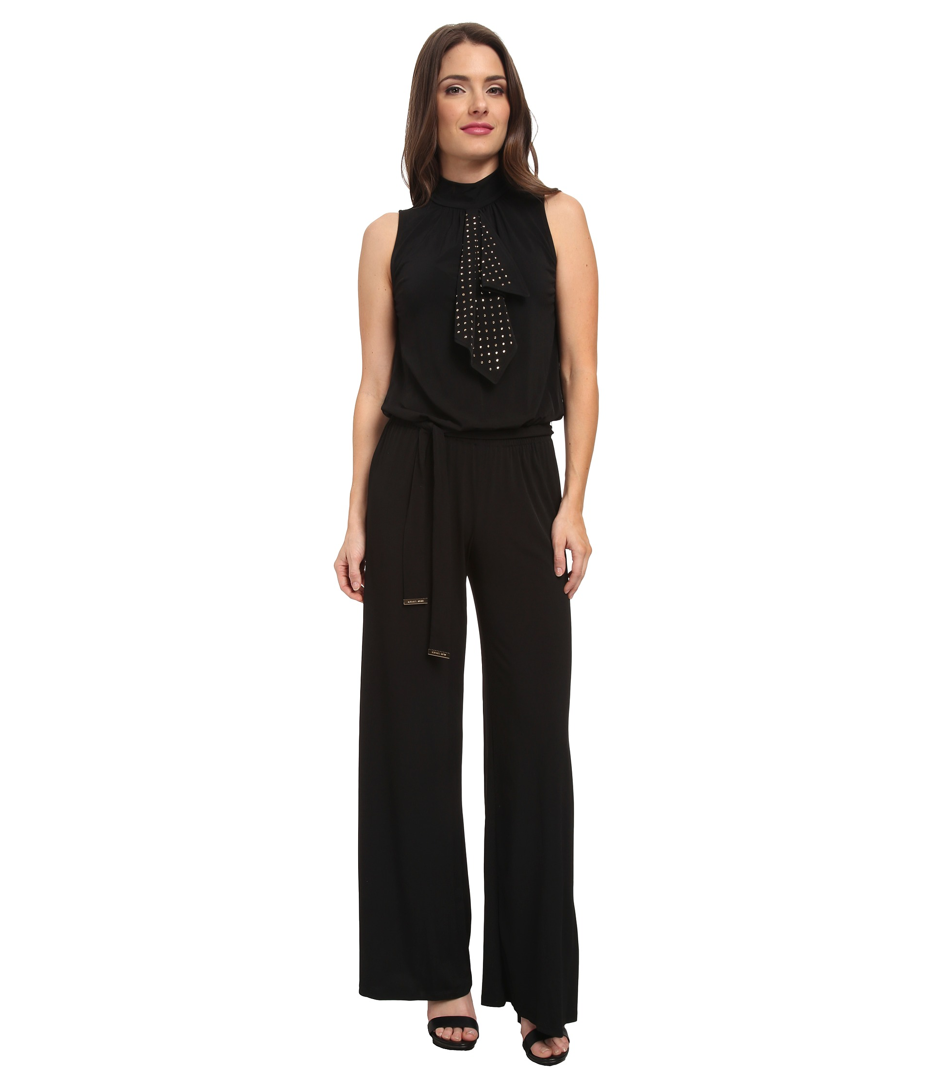 michael michael kors petite stud flounce wide leg jumpsuit shipped free at zappos. Black Bedroom Furniture Sets. Home Design Ideas