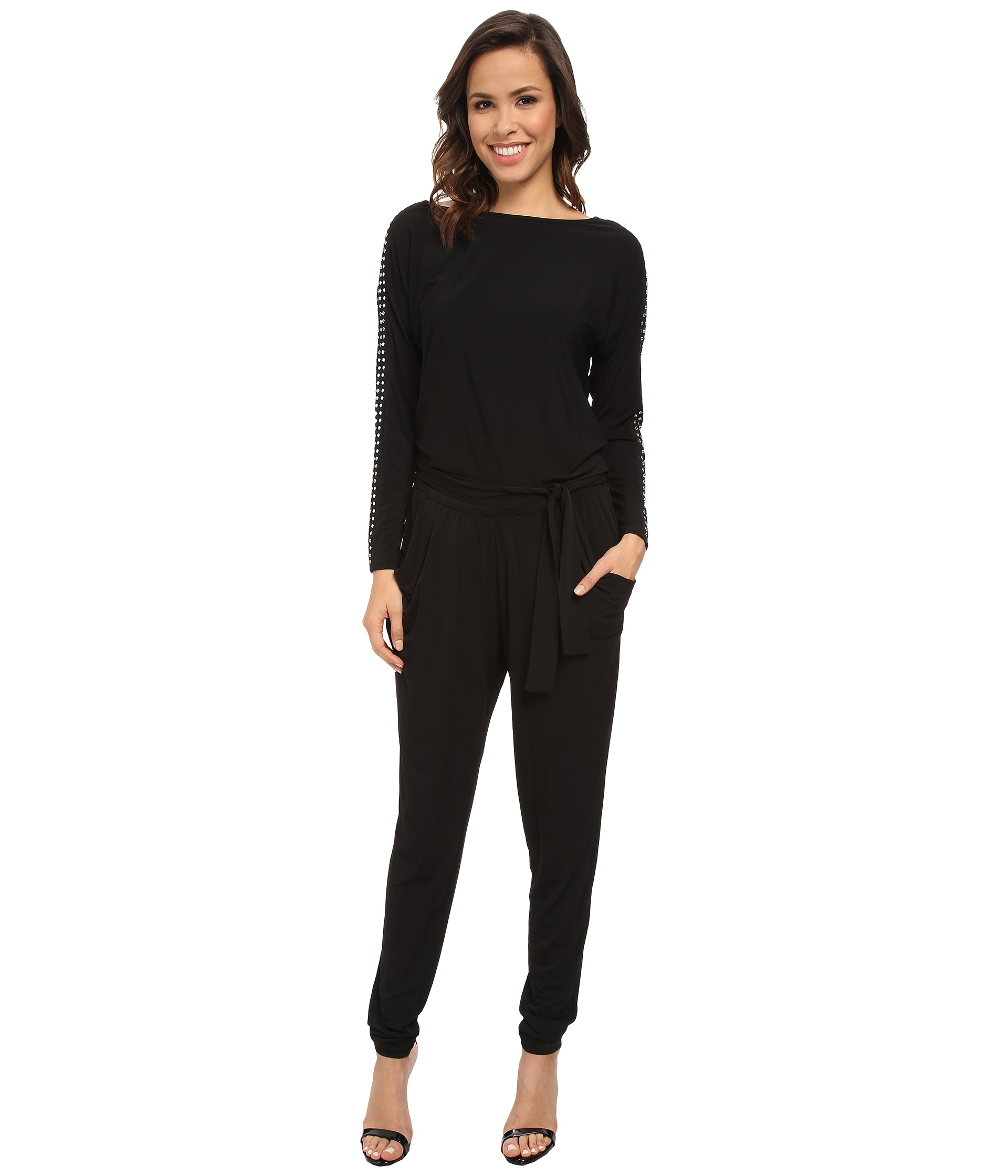 michael michael kors long sleeve studded boatneck jumpsuit shipped free at zappos. Black Bedroom Furniture Sets. Home Design Ideas