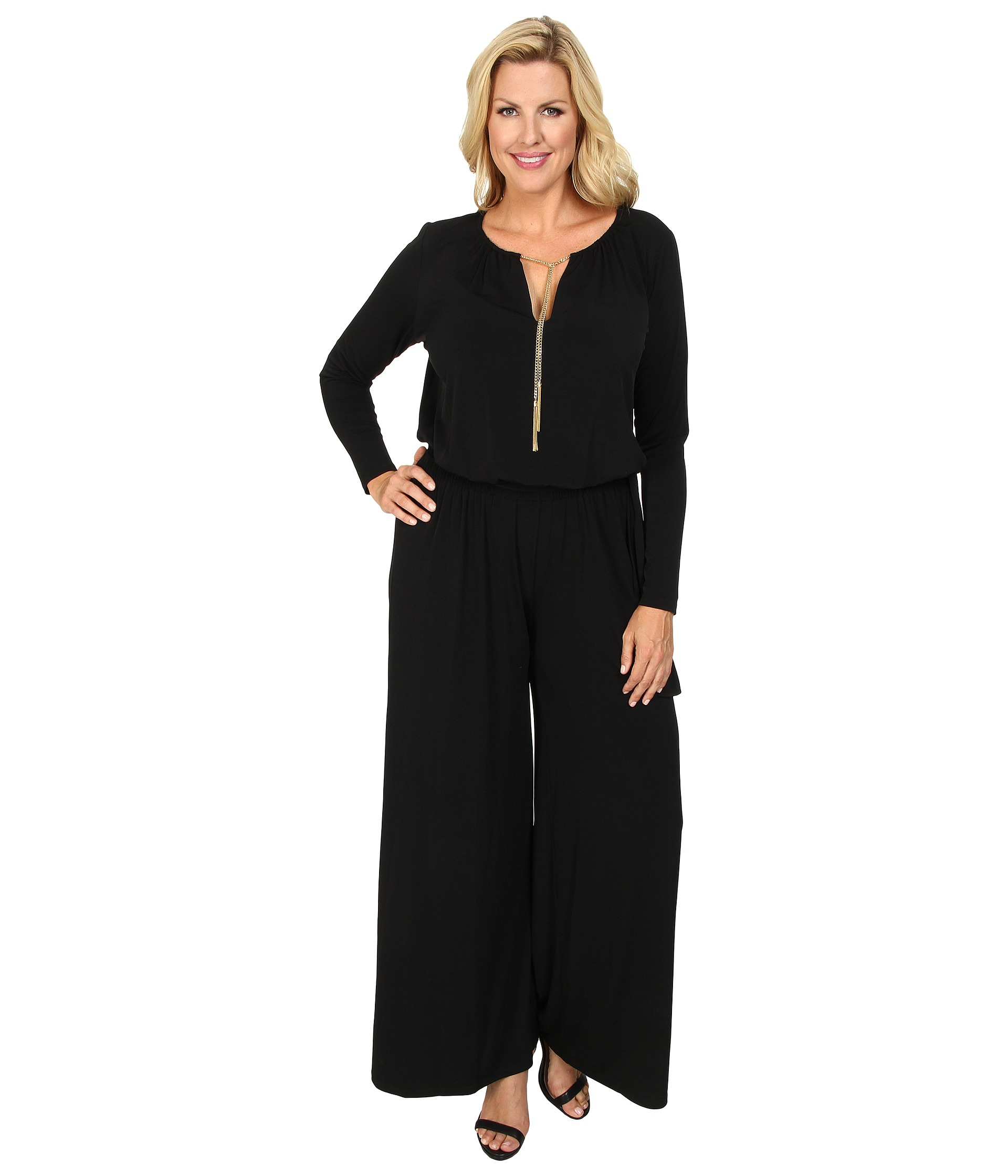 michael michael kors plus size long sleeve chain neck wideleg jumpsuit black shipped free at. Black Bedroom Furniture Sets. Home Design Ideas