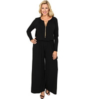MICHAEL Michael Kors - Plus Size Long Sleeve Chain Neck Wideleg Jumpsuit