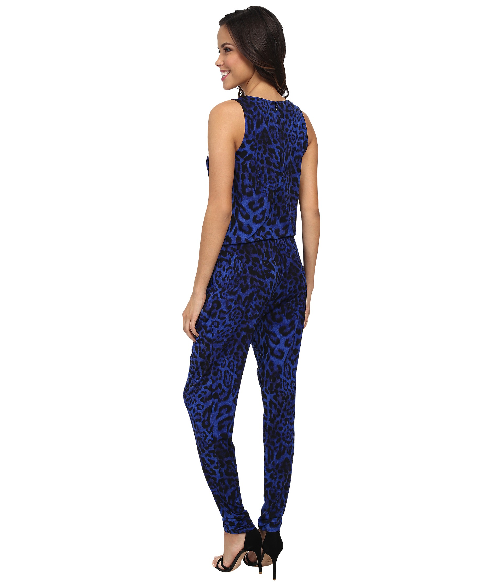 michael michael kors freemont sleeveless cowl jumpsuit amalfi blue shipped free at zappos. Black Bedroom Furniture Sets. Home Design Ideas