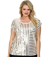 MICHAEL Michael Kors - Plus Size Stripe Mix Sequin Top