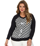 MICHAEL Michael Kors - Plus Size Dogtooth Sequin Long Sleeve Terry Top