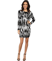 MICHAEL Michael Kors - Long Sleeve Ikat Sequin Crew Neck Dress