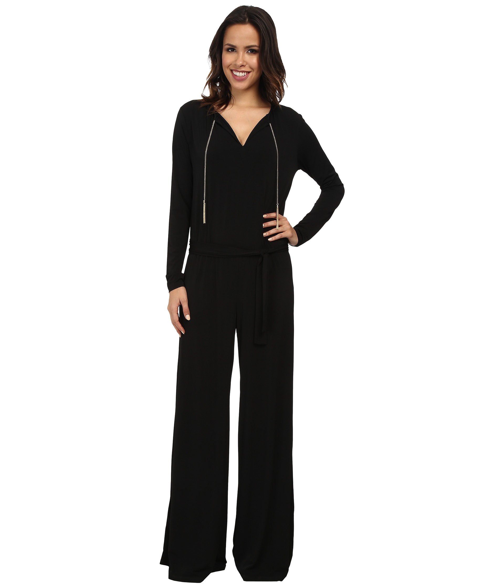 michael michael kors long sleeve chain neck wide leg jumpsuit shipped free at zappos. Black Bedroom Furniture Sets. Home Design Ideas
