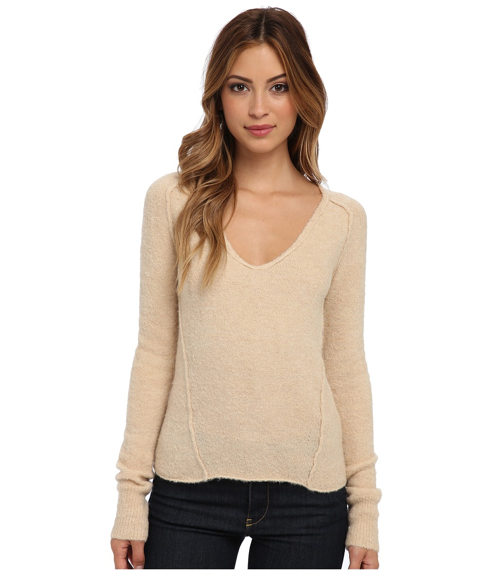 Free People Everyday V Sweater (Camel) Women's Long Sleeve Pullover