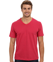 Perry Ellis - Short Sleeve Cotton Stripe V-Neck Shirt