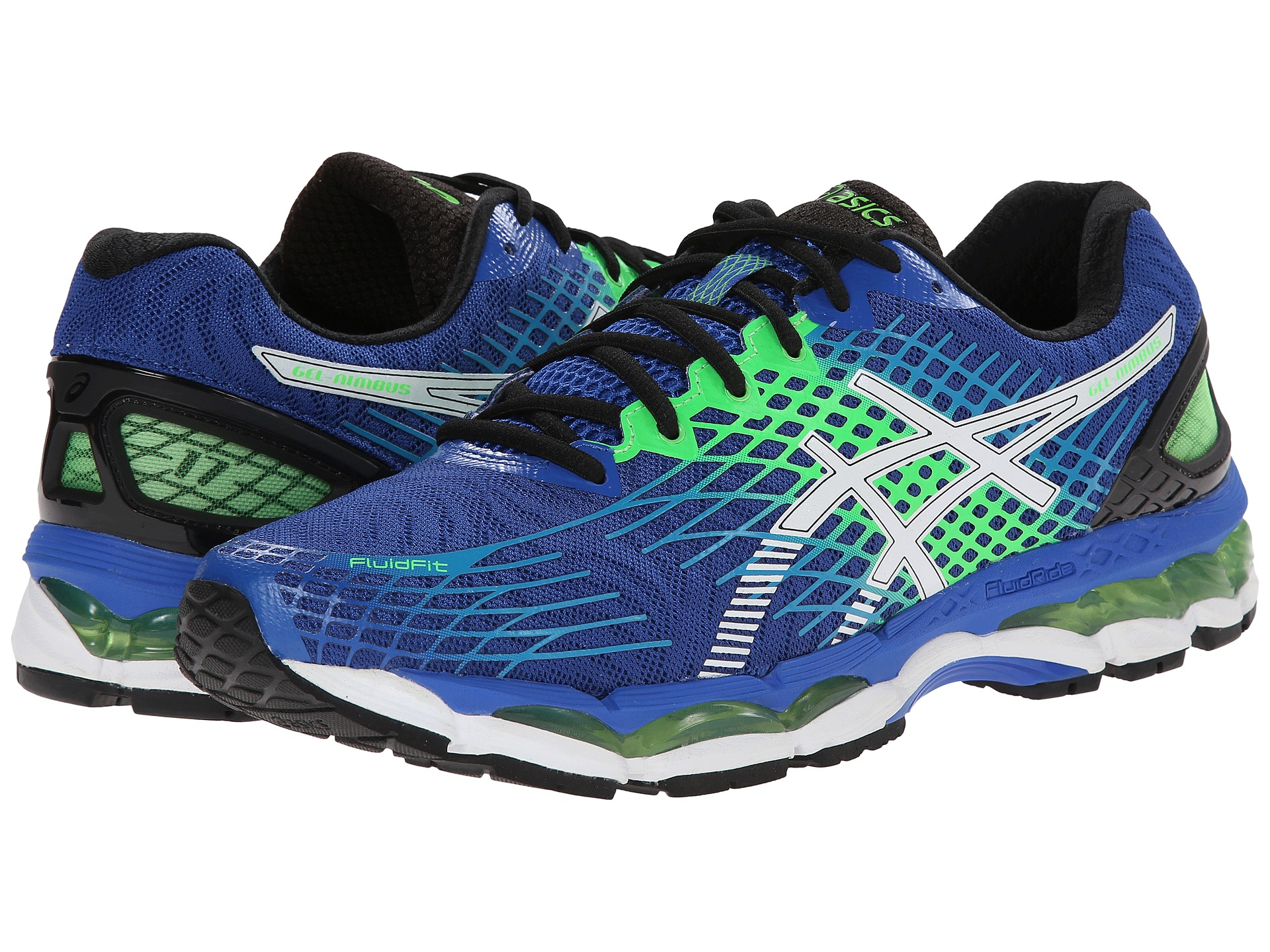 asics gel nimbus 17 royal white flash green free shipping both ways. Black Bedroom Furniture Sets. Home Design Ideas