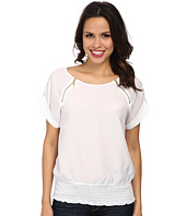 MICHAEL Michael Kors - Short Sleeve Raglan Zip Top