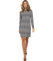 MICHAEL Michael Kors - Long Sleeve Boatneck Aqua Stripe Dress