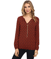 MICHAEL Michael Kors - Long Sleeve Dogtooth Chain Peasant Top