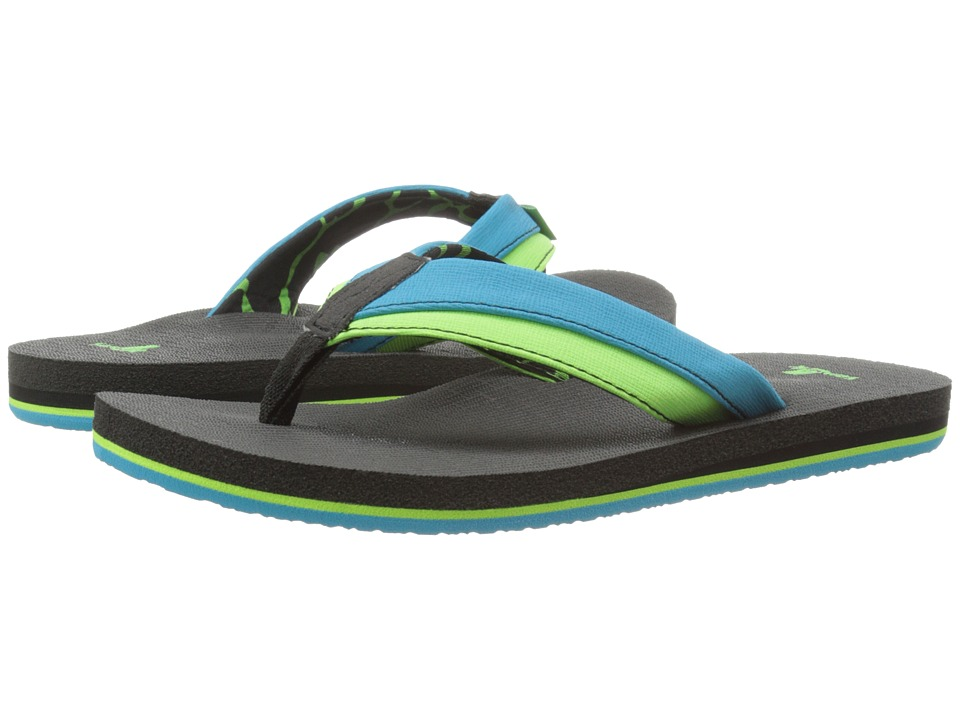 Sanuk Kids - Rootbeer Cozy Light (Little Kid/Big Kid) (Ocean/Lime) Boys Shoes