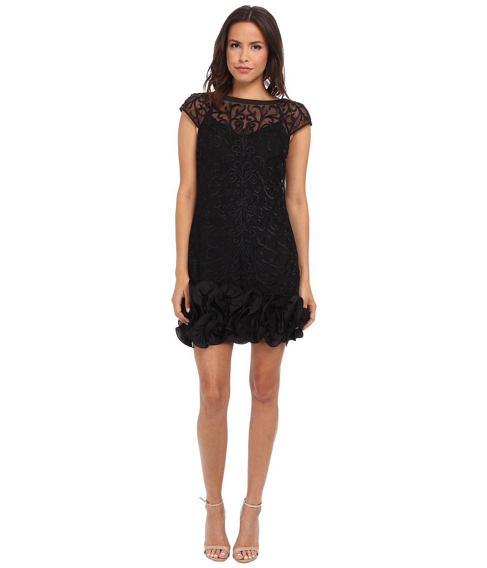 Jessica Simpson Short Tiered Sleeve Dress with Ruffle at Hem Black Womens Dress