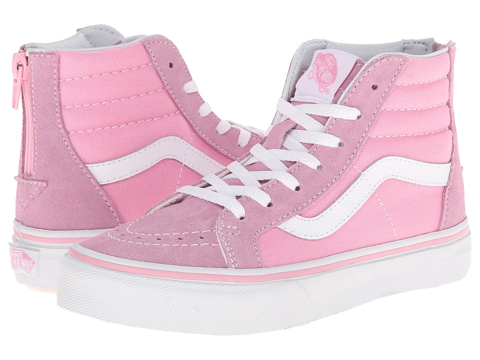 Vans Kids Sk8-Hi Zip (Little Kid/Big Kid) (Prism Pink/True White) Girls Shoes