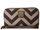 Dooney & Bourke Large Chevron Zip Around Credit Card Phone Wristlet