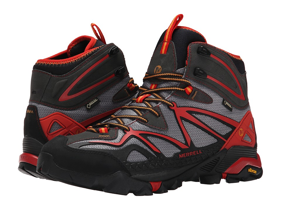 Merrell - Capra Mid Sport GORE-TEX (Light Grey/Red) Men