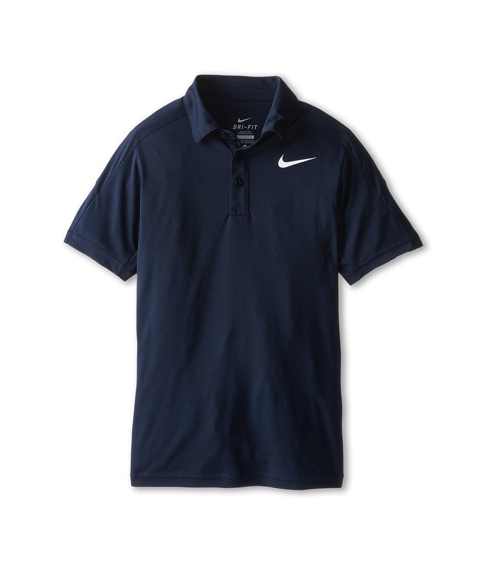 Nike Kids Team Court Polo Little Kids/Big Kids Obsidian/Obsidian/Obsidian/White Boys Short Sleeve Pullover