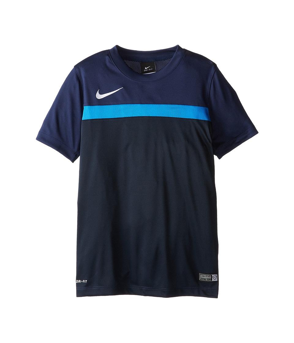 Nike Kids Academy S/S Training Top 1 Little Kids/Big Kids Midnight Navy/Light Photo Blue/White Boys Short Sleeve Pullover